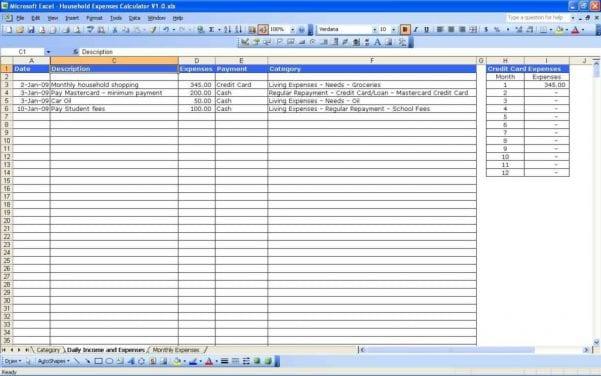 Sample Excel Budget Sheet