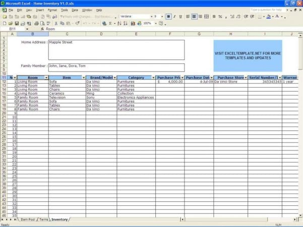 Sample Excel Sheet For Inventory
