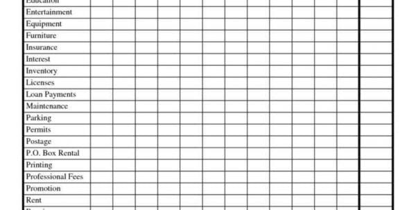 Sample Expense Spreadsheet