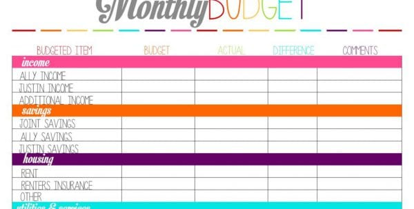 Sample Home Budget Sheet