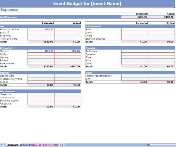 Sample Home Budget Worksheet