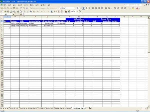 Sample Spreadsheet Data