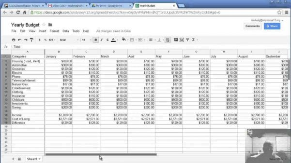 Sample Spreadsheet For Household Budgeting