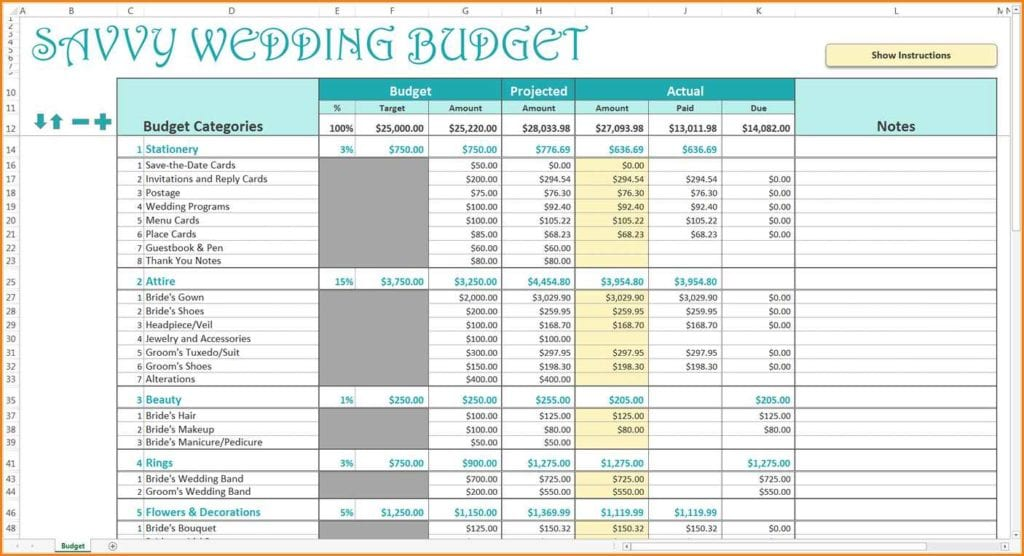 Sample Wedding Budget Spreadsheet 1