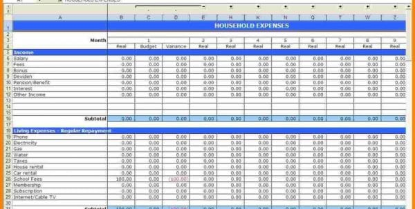 Samples Of Monthly Budget Spreadsheet