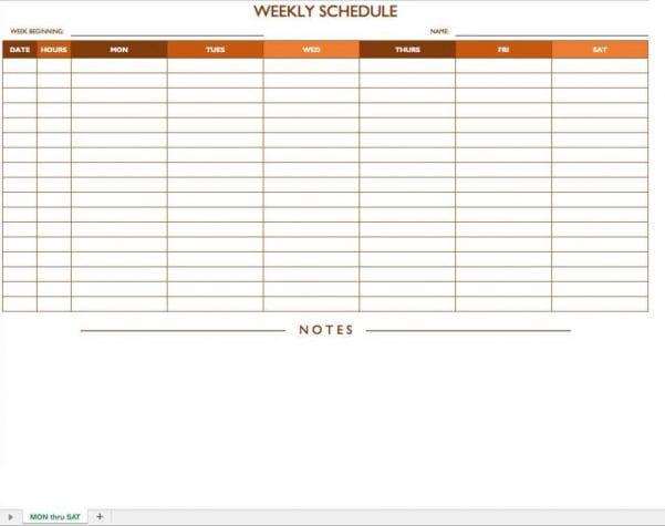 Schedule Format Template