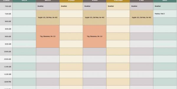 Schedule Spreadsheet Template