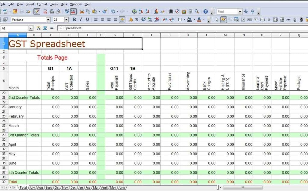 Simple Bookkeeping Spreadsheet Template Free