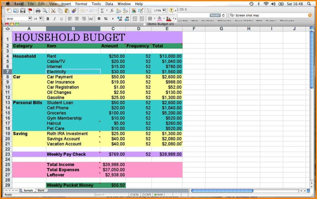 Simple Monthly Budget Sheet