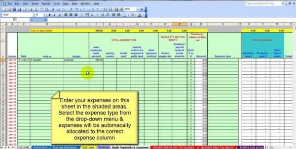 Small Business Bookkeeping Excel Spreadsheet