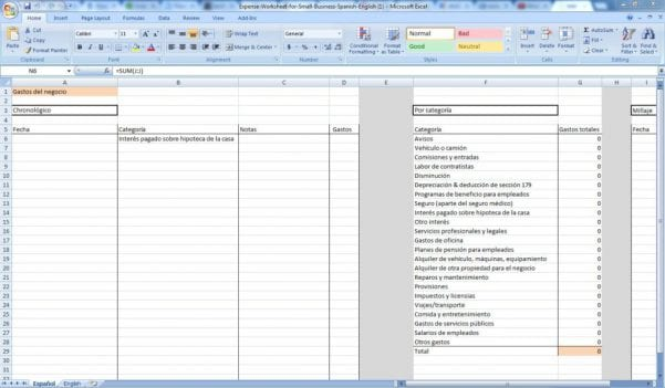 Small Business Expense Worksheet Template