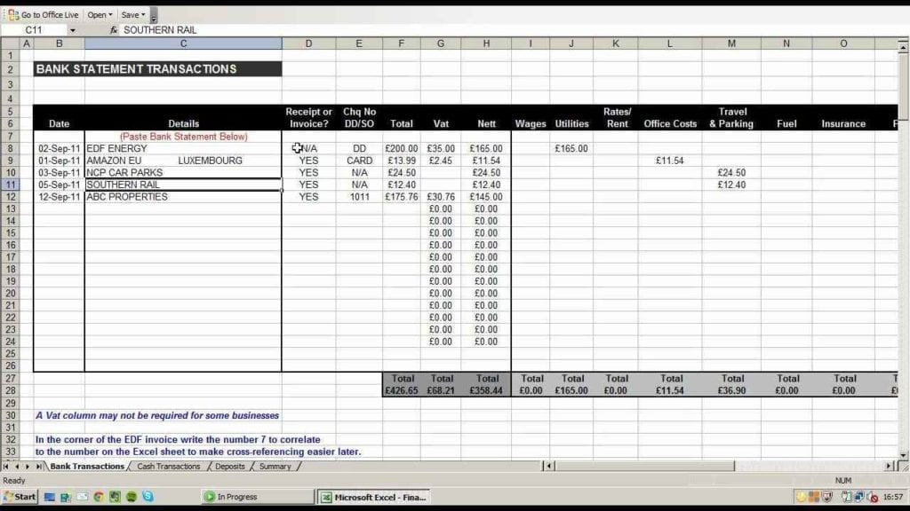 Spreadsheet For Business Taxes