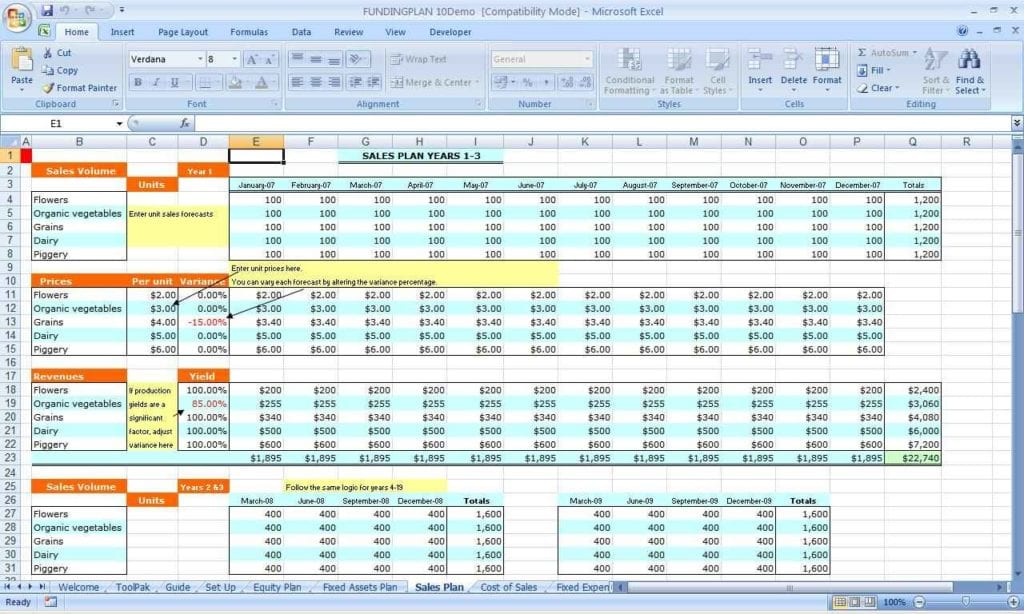 Spreadsheet For Small Business Taxes