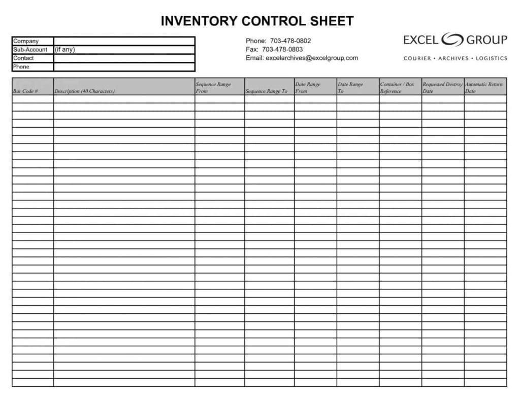 Stock Control Spreadsheet Template1