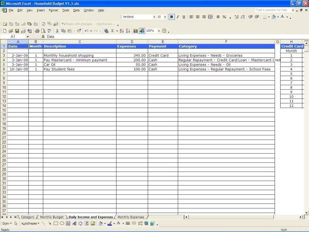 Template Expense Sheet
