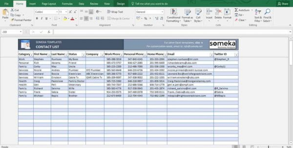 Template For Excel Spreadsheet