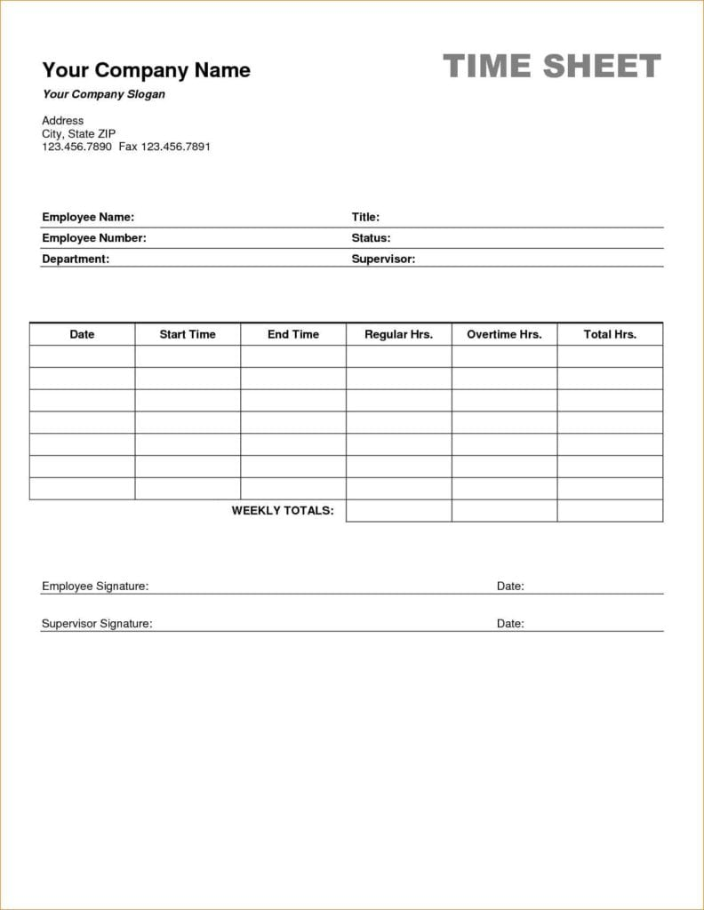 Timesheet Template Excel Free