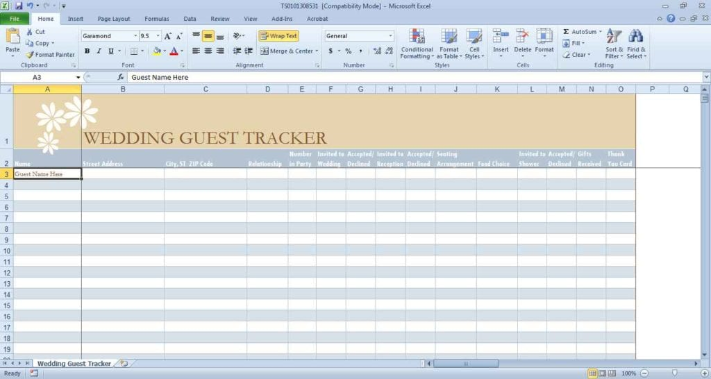 Wedding Budget Excel Spreadsheet South Africa 1