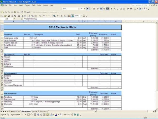 Wedding Budget Excel Spreadsheet South Africa