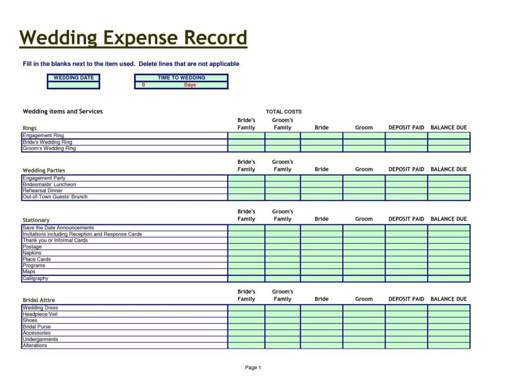Wedding Budget Excel Spreadsheet Template 1