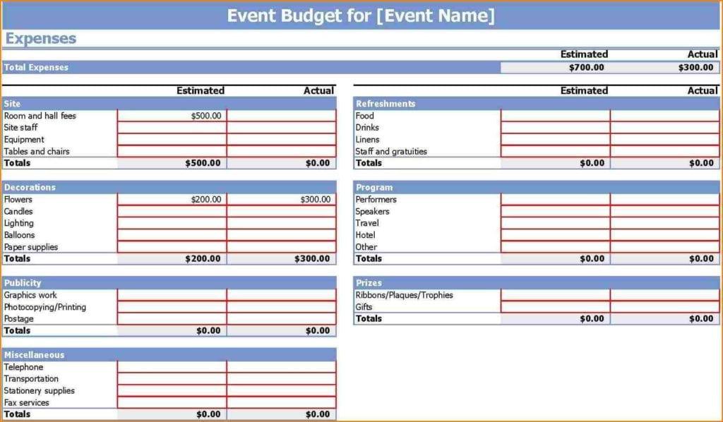 Wedding Budget Excel Spreadsheet Template