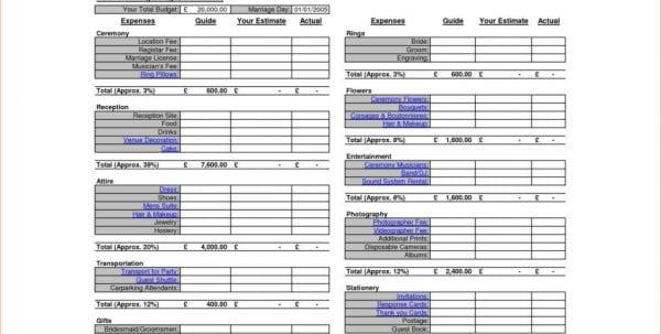Wedding Budget Planner Template Sample Wedding Budget Spreadsheet Spreadsheet Templates for Business, Wedding Spreadsheet, Budget Spreadsheet
