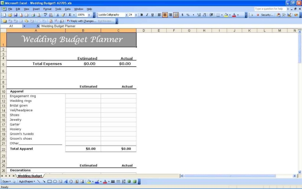 Wedding Budget Spreadsheet Australia 1