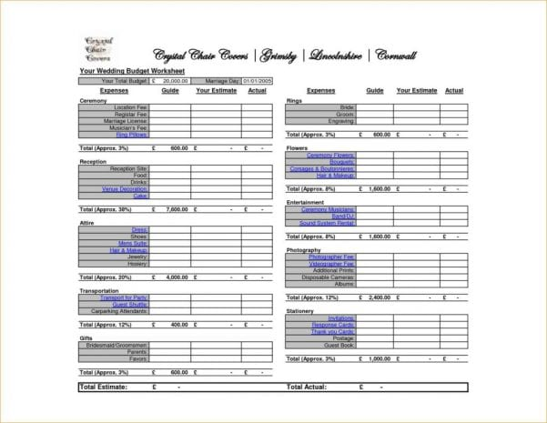 Wedding Budget Spreadsheet Excel Template