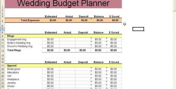 Wedding Budget Spreadsheet Template