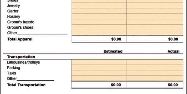 Wedding Budget Worksheet Excel