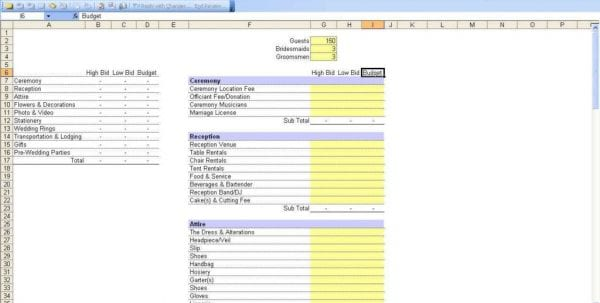 Wedding Expenses List Spreadsheet