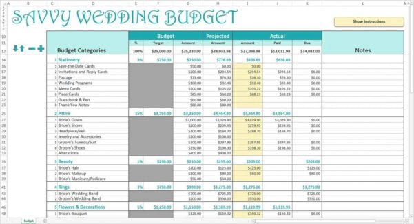 Wedding Expenses Spreadsheet