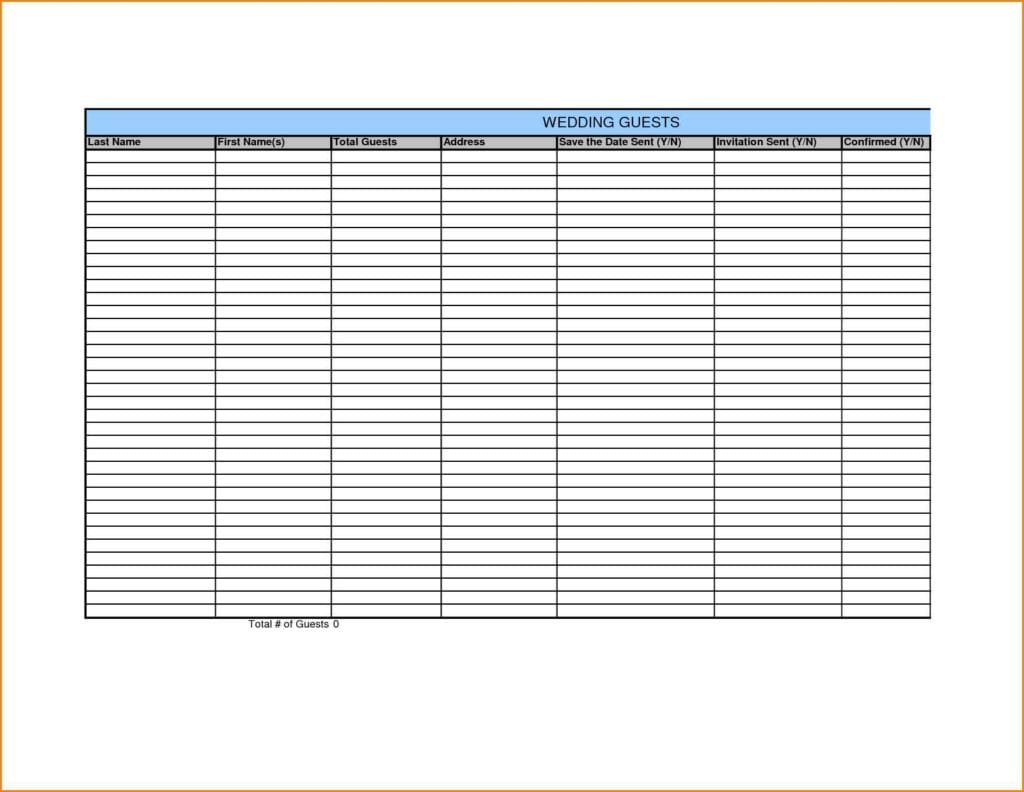 Wedding Guest List Spreadsheet Template