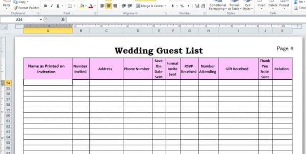 Wedding Guest List Template Pdf