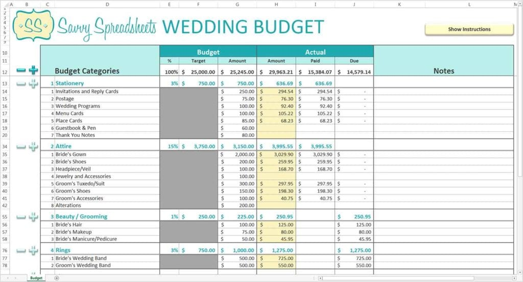 Wedding Planning Spreadsheet