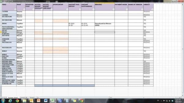Wedding Spreadsheet Guest List