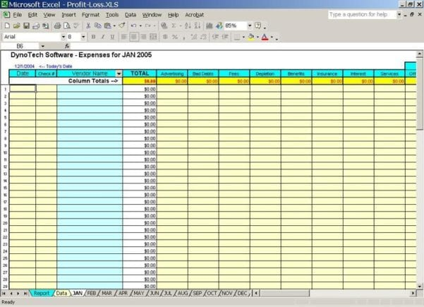 Bookkeeping Excel Spreadsheet