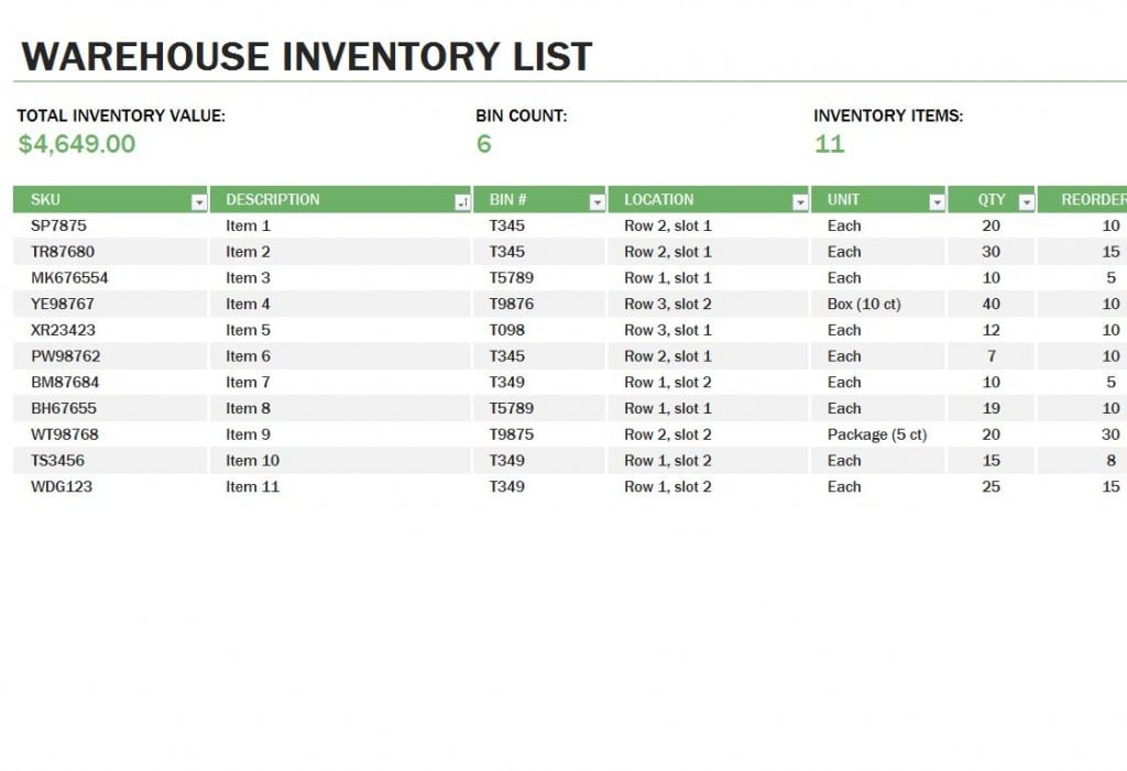 Excel Inventory Tracking Template Basic Inventory Spreadsheet Template Inventory Spreadshee Inventory Spreadshee Inventory And Sales Manager Excel Template