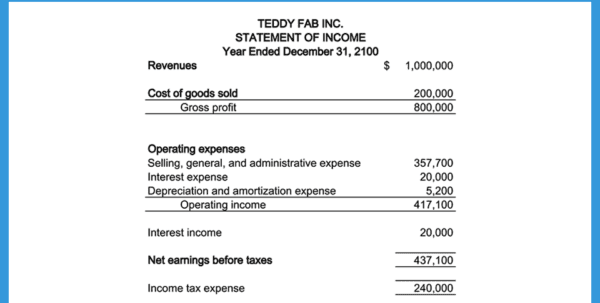 L 4F Income Statement Example