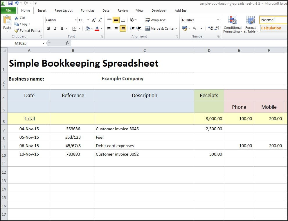 Microsoft Excel Bookkeeping Templates 2