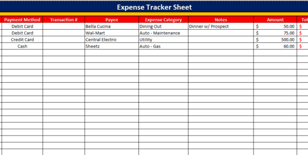Monthly Business Expense Spreadsheet