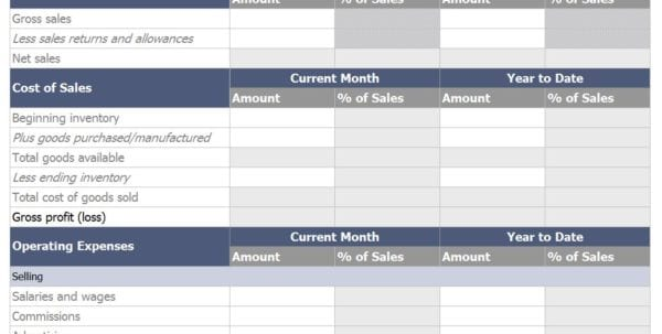 Monthly Financial Templates