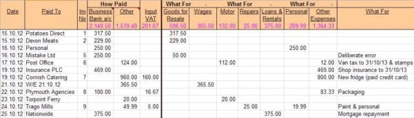 Small Business Spreadsheet Bookkeeping