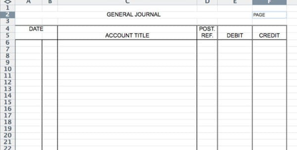 Accounting Journal Entry Template