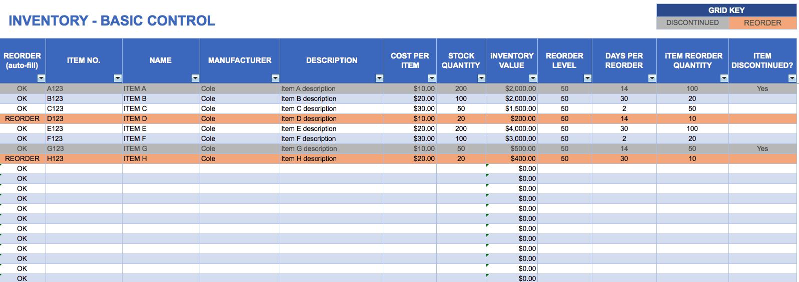 Asset List Template Excel