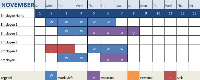 Attendance Tracking Sheet Sample Words