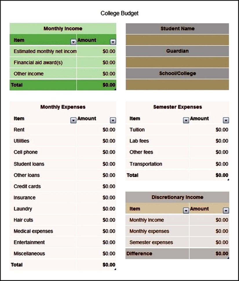 Simple budget worksheet for college students