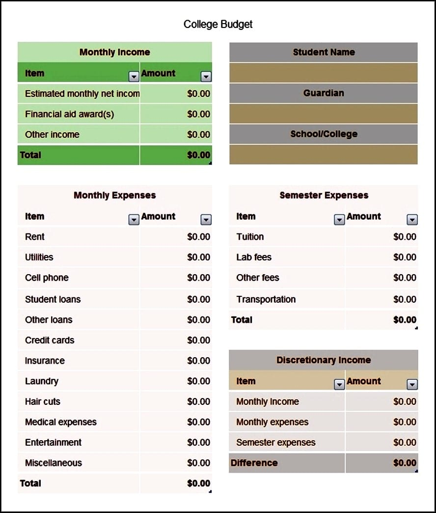 Basic Budget Worksheet College Student