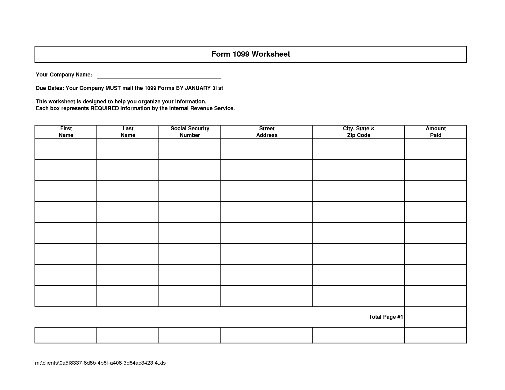 Blank Worksheet Templates For Math
