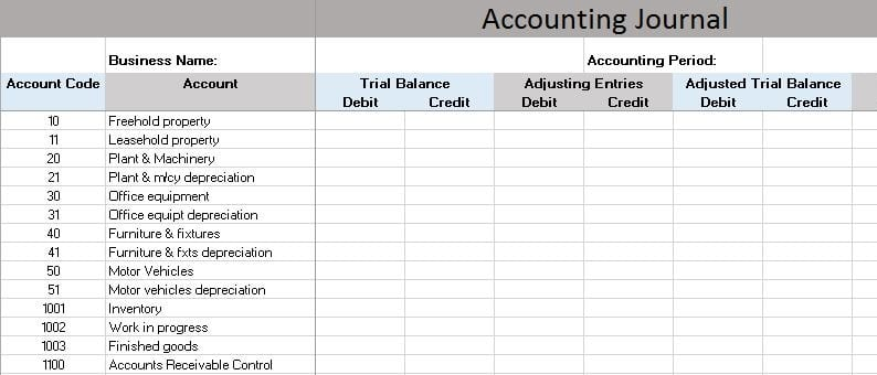 Bookkeeping Sample Spreadsheet